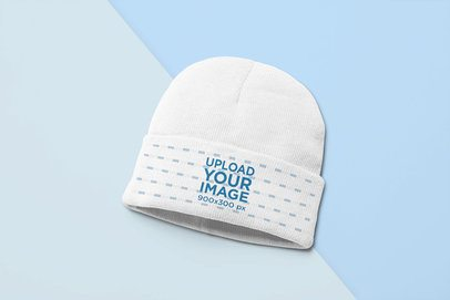 Beanie Mockup of a Bicolor Surface 24560