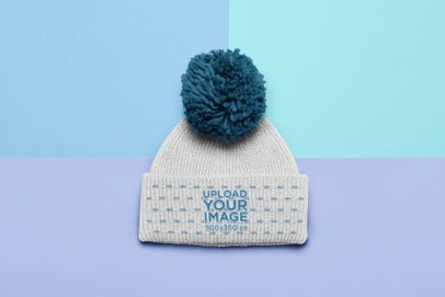 Flat Lay Mockup of a Beanie with a Pom Pom 24774