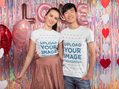 Mockup of a Cute Biracial Couple Celebrating Valentine's Day Together 25400