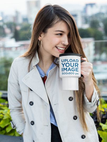 Travel Mug Mockup of a Smiling Woman Drinking Her Coffee 24345