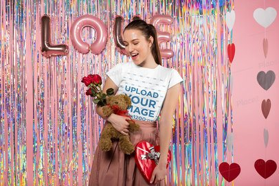 T-Shirt Mockup of a Happy Girl on Valentine's Day 25410