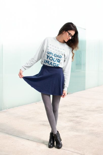 Sweatshirt Mockup of a Girl Posing Outside a Glass Building 18254
