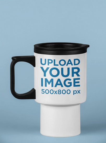 Mockup of a Travel Mug over a Solid Surface 24407