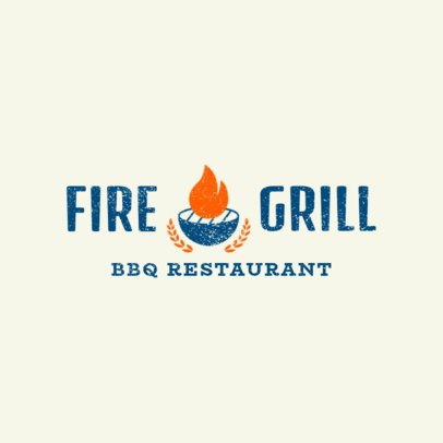 Simple BBQ Restaurant Logo Template 1676e