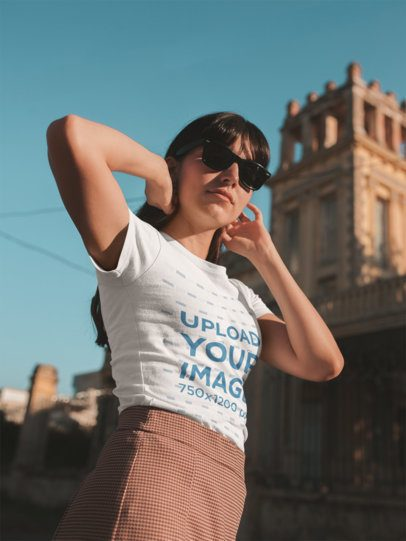 Mockup of a Cool Girl Wearing a T-Shirt with Her Sunglasses On 19626