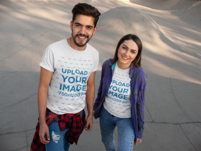Tee Mockup of a Two Friends Hanging out at a Skate Park 25224