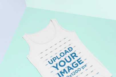 Tank Top Flat Lay Mockup Featuring the Corner of a Room 25181