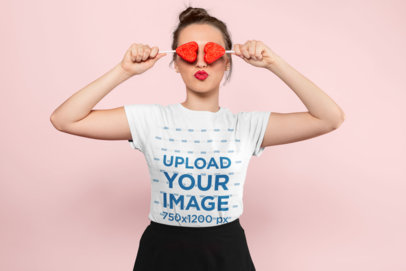 Valentine's Day Mockup of a Playful Girl Wearing a Tee 25421