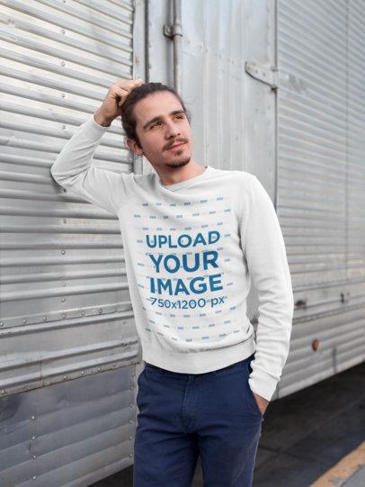 Mockup of a Casually Stylish Man Wearing a Sweatshirt 18100