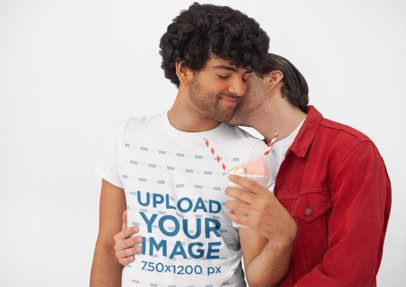 Valentine's Day Tee Mockup of an LGBT Man Spending Time with His Boyfriend 25395