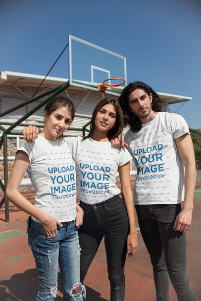 T-Shirt Mockup of a Group of Friends at a Basketball Court 25226