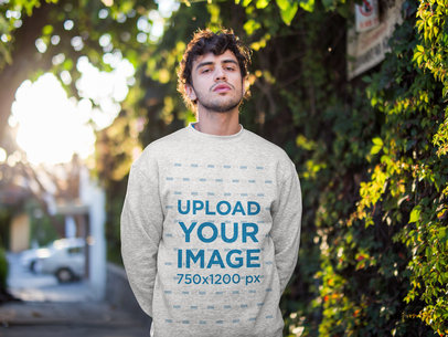 Heathered Sweater Mockup Featuring a Handsome Man 18195