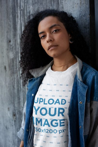 Sweatshirt Mockup Featuring a Serious Woman with Curly Hair 18260