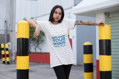 T-Shirt Mockup of an Edgy Girl at a Parking Entrance 25272