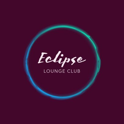 Nightclub Logo Template with Neon Frame 1683c