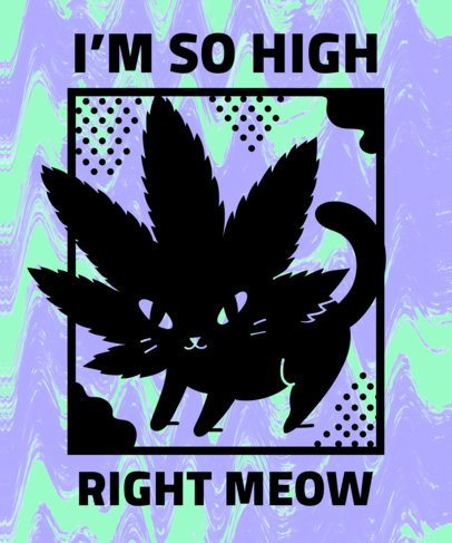 Marijuana T-Shirt Design Template with a Funny Psychedelic Style 1061