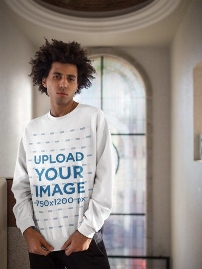 Sweater Mockup Featuring a Man with an Afro Indoors 18343