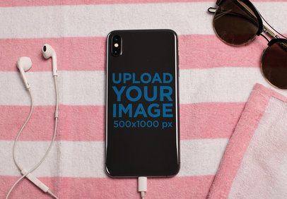 Mockup of a Phone Sticker on a Beach Towel 25205