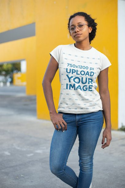 T-Shirt Mockup Featuring a Girl with Glasses 24104