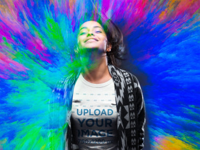 Colorful Mockup of a Woman Wearing a T-Shirt 18743