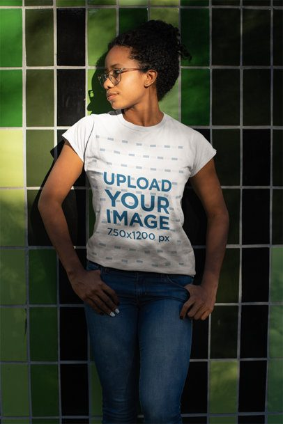 Mockup of a Young Woman Wearing a T-Shirt and Glasses 24099