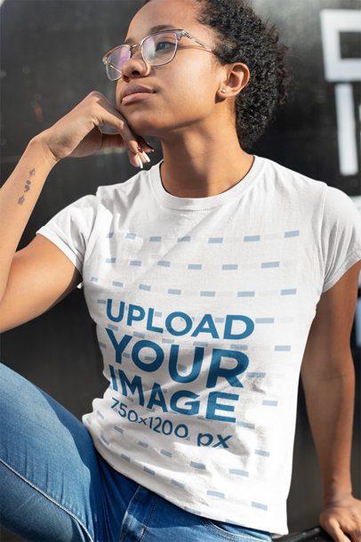 Mockup of a Tattooed Woman Wearing a T-Shirt 24098
