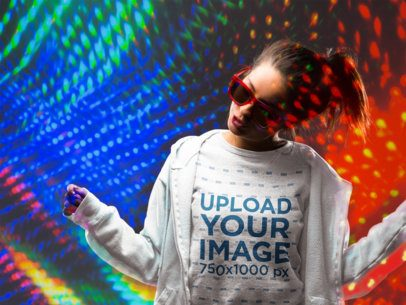 Crewneck Sweater Mockup of a Woman Against a Wall with Laser Lights 18745