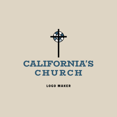 Church Logo Design Template with a Christian Cross Graphic 1769c