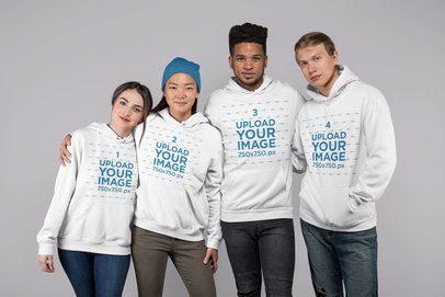 Mockup of Four Friends Wearing Hoodies 25714
