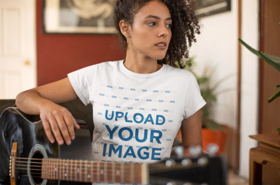 Round Neck Tshirt Mockup of a Girl Holding an Acoustic Guitar 24290