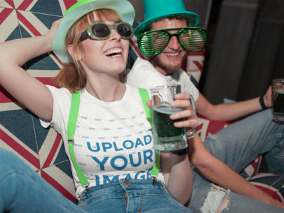 T-Shirt Mockup Featuring Two Friends Drinking on St. Patrick's Day 19575