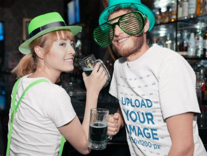 St. Patty's Day Mockup Featuring Two People Drinking at a Bar 19576
