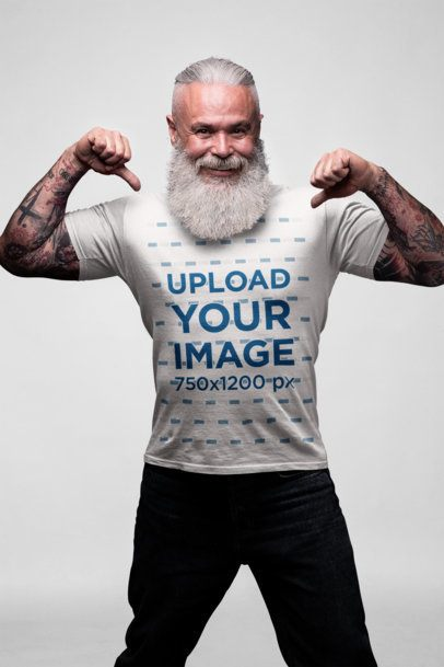 Mockup of an Edgy Bearded Senior Showing off His T-Shirt 23379