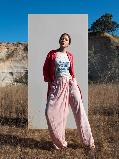 T-Shirt Mockup Featuring a Chic Woman Outdoors 18544