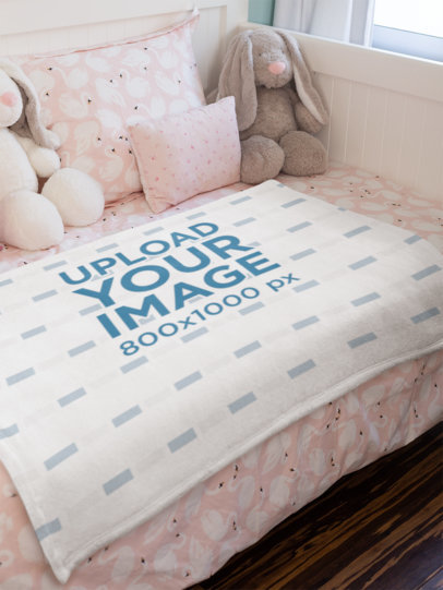 Blanket Mockup Featuring a Cute Pink Bedroom 24686