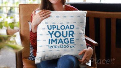 Parallax Video of a Woman Hugging a Pillow 26055