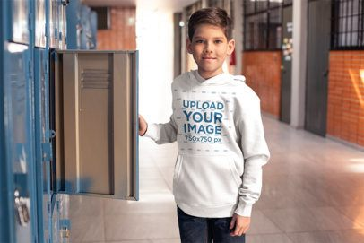 Hoodie Mockup of a Student Standing Next to His Locker 24834
