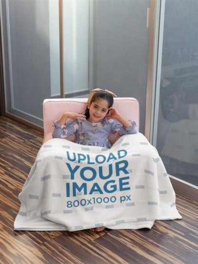 Blanket Mockup of a Girl in a Cute Little Pink Sofa 24689