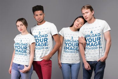 Round Neck Tee Mockup Featuring an Interracial Group of Four Friends in a Studio 25705