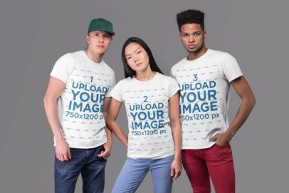 Mockup of a Group of Three Friends Wearing Round Neck Tees at a Studio 25709