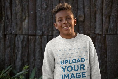 Heather Mockup of a Young Boy Wearing a Sweater Outside 24947