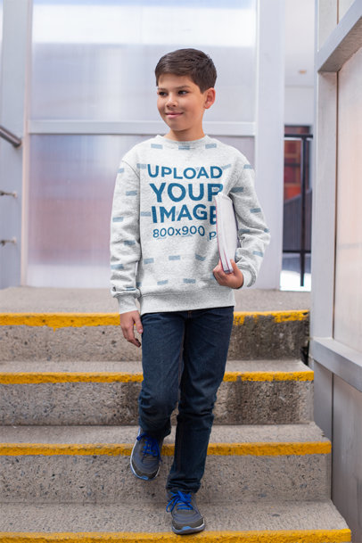 Sweatshirt Mockup Featuring a Young Student by the Stairs 24842