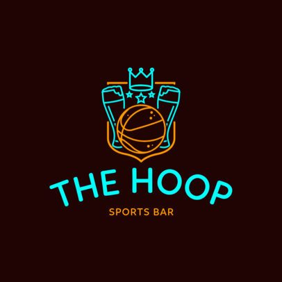 Neon Style Logo Maker with Basketball and Beer Icons 1678e