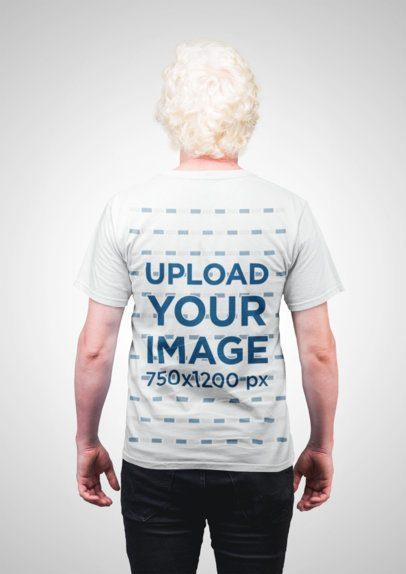 T-Shirt Mockup of an Older Man Facing Backwards 22216