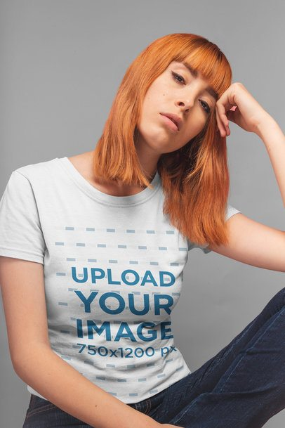 T-Shirt Mockup of a Thoughtful Pretty Girl 20843