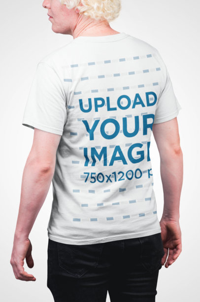 Back View Mockup of a Man Wearing a Tee in a Studio 22218