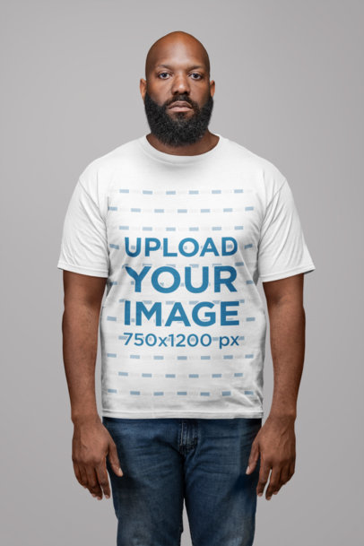 T-Shirt Mockup of a Man with a Beard in a Photo Studio 21516