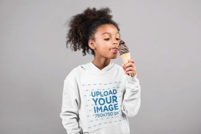 Hoodie Mockup of a Funny Little Girl Eating Ice-Cream 24860