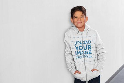 Full-Zip Hoodie Mockup of a Happy Boy at School 24847