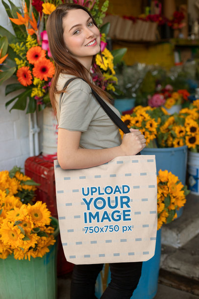 Tote Bag Mockup of a Girl at a Flower Shop 24871